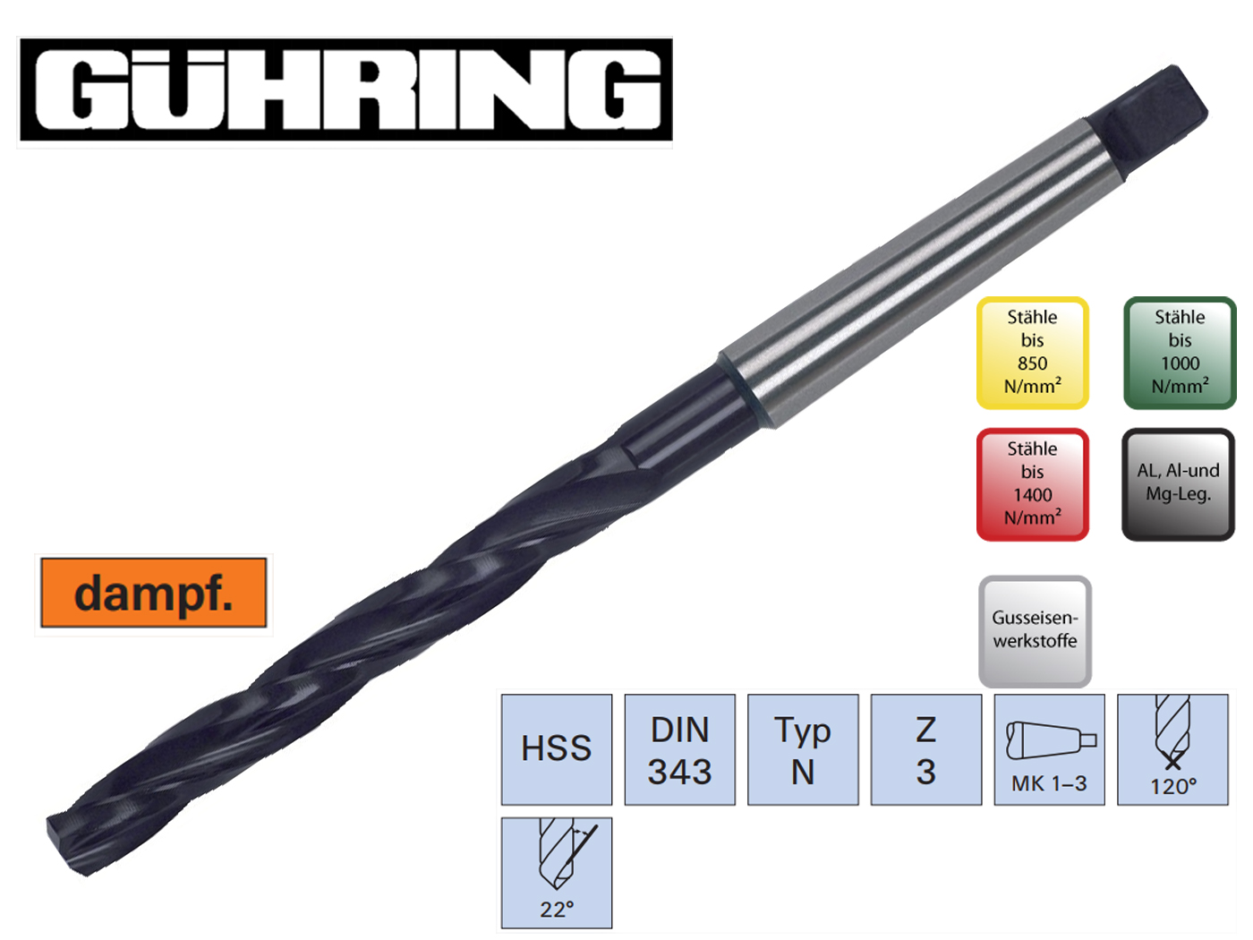 Boorfrees DIN 343 HSS Guhring | DKMTools - DKM Tools
