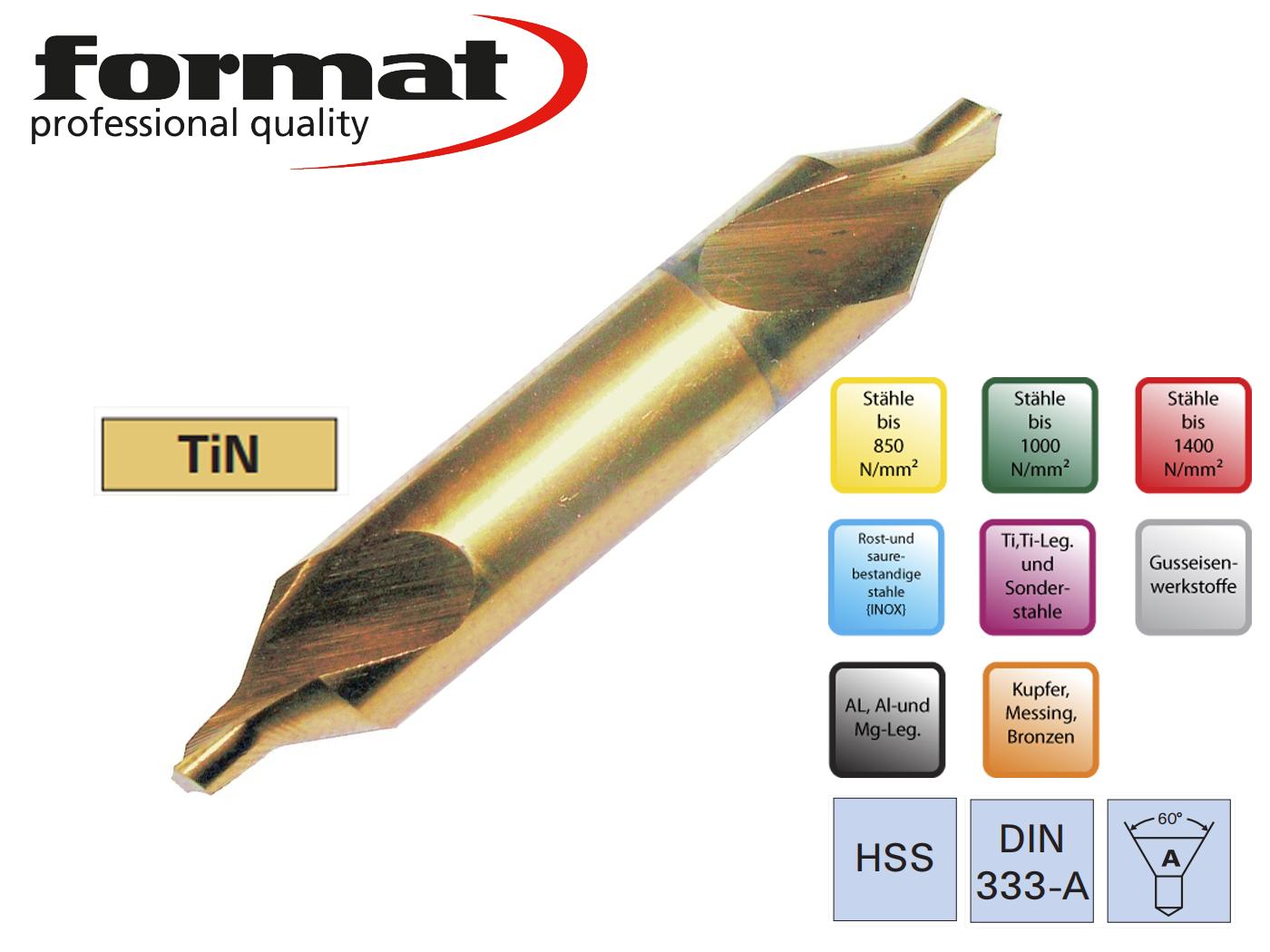 Centreerboren DIN 333 A HSS TiN FORMAT   DKMTools - DKM Tools