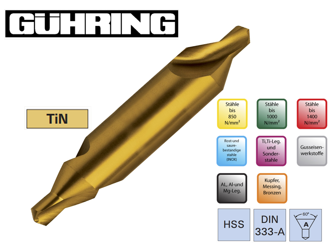Centreerboren DIN 333 A HSS TiN Guhring | DKMTools - DKM Tools