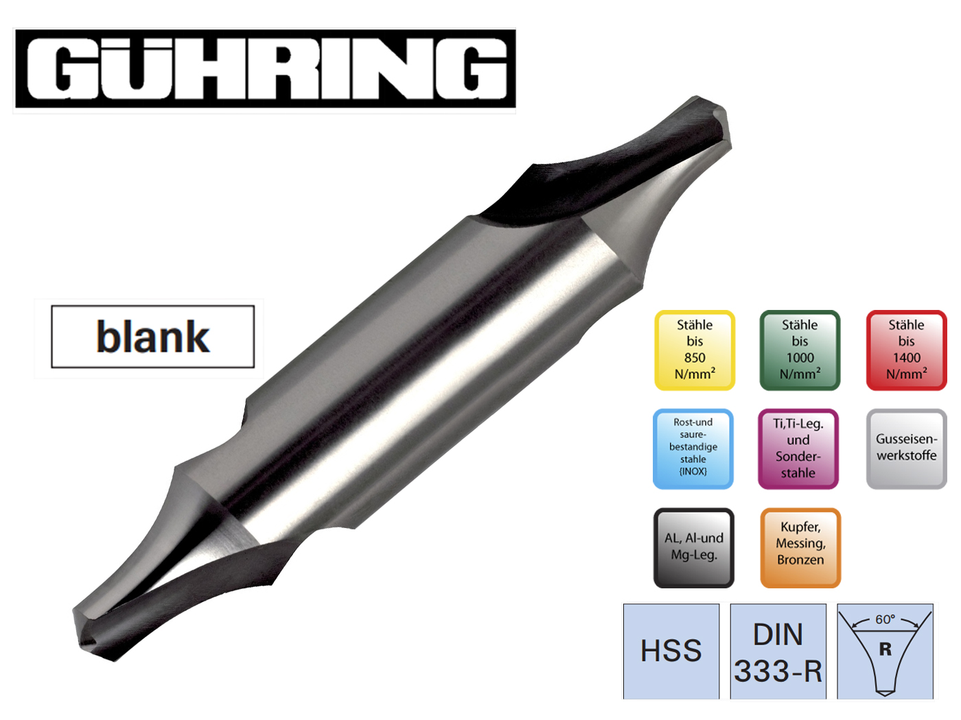 Centreerboren DIN 333 R Ghuring   DKMTools - DKM Tools