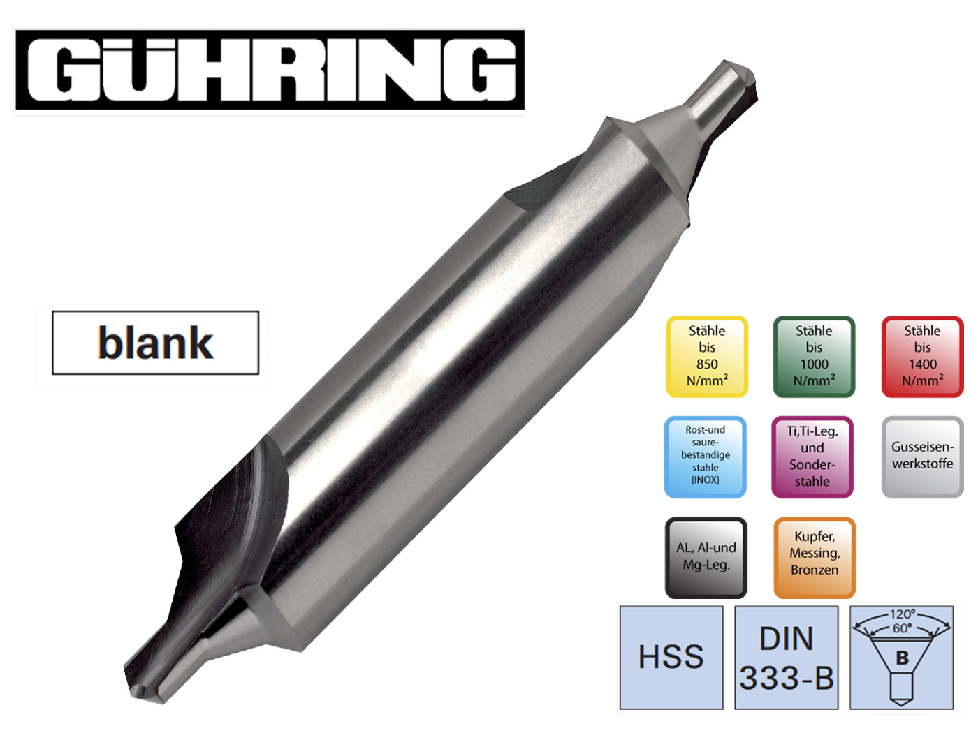 Centreerboren DIN 333 B linksdraaiend Guhring | DKMTools - DKM Tools