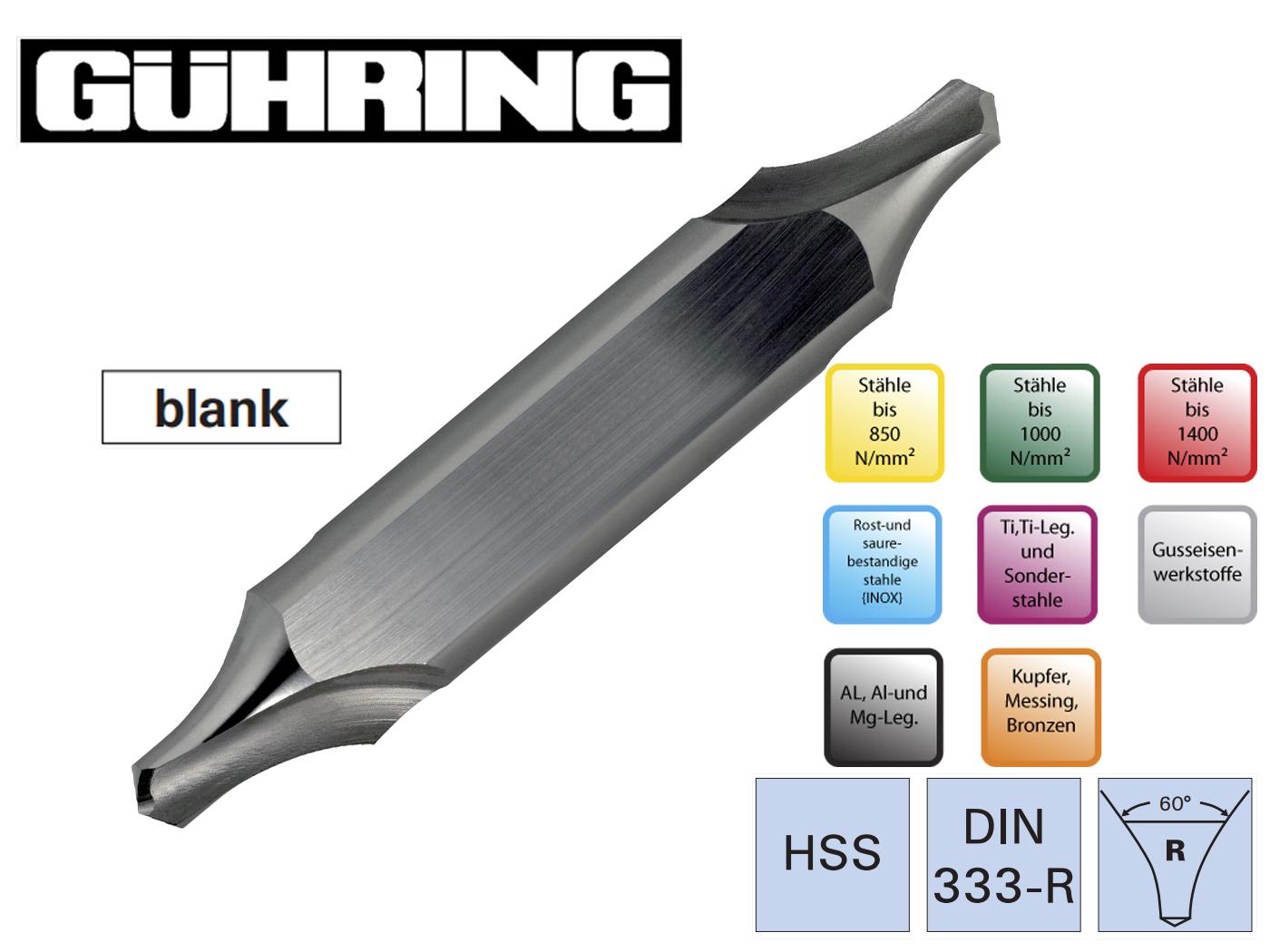 Centreerboren met vlak DIN 333 R Ghuring   DKMTools - DKM Tools