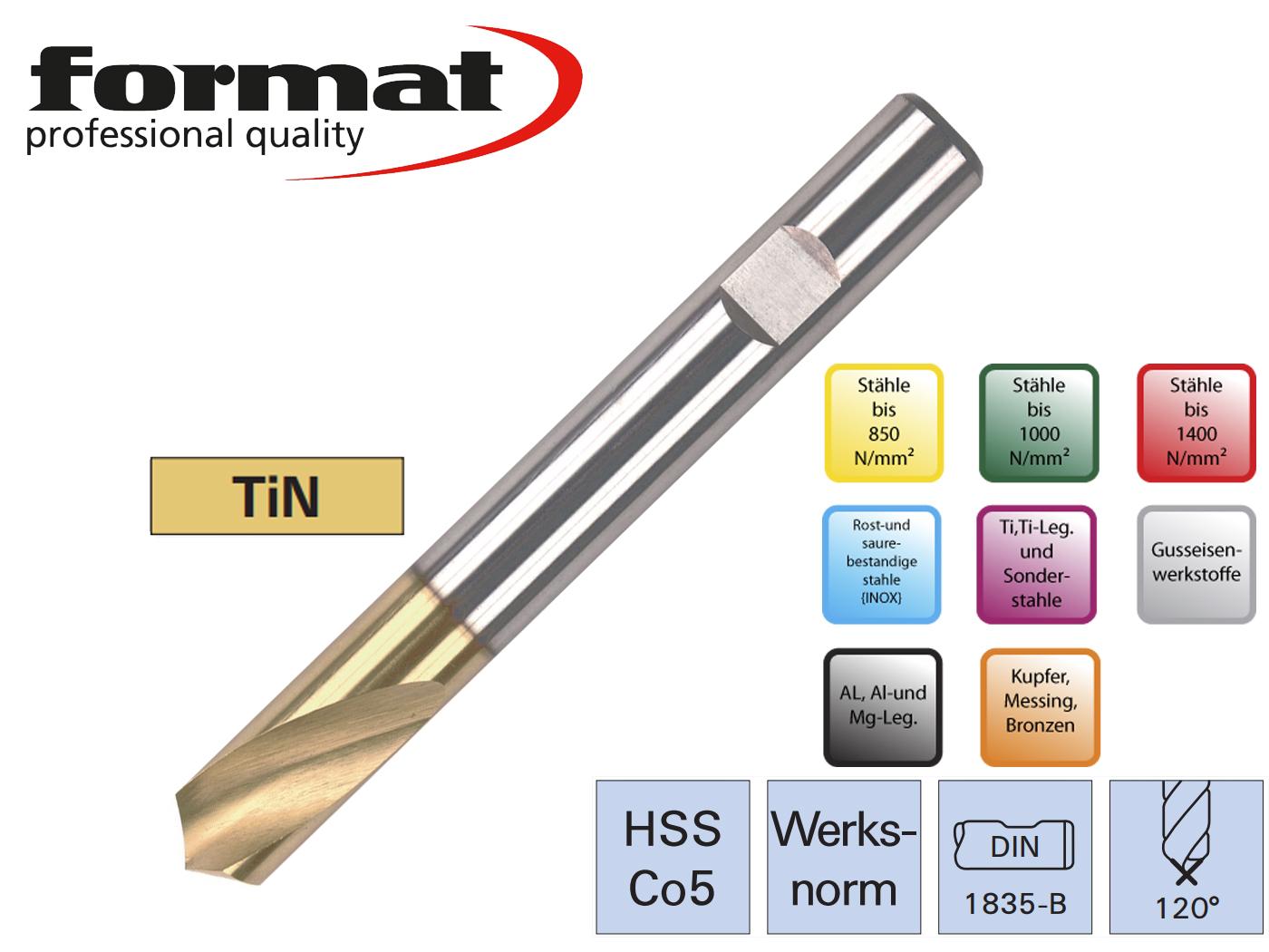 Centerboor NC DIN 1835 B HSSCo5 120G TiN FORMAT | DKMTools - DKM Tools