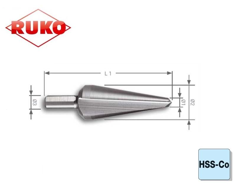 Conische Plaatboor HSSE Co 5 Ruko | DKMTools - DKM Tools