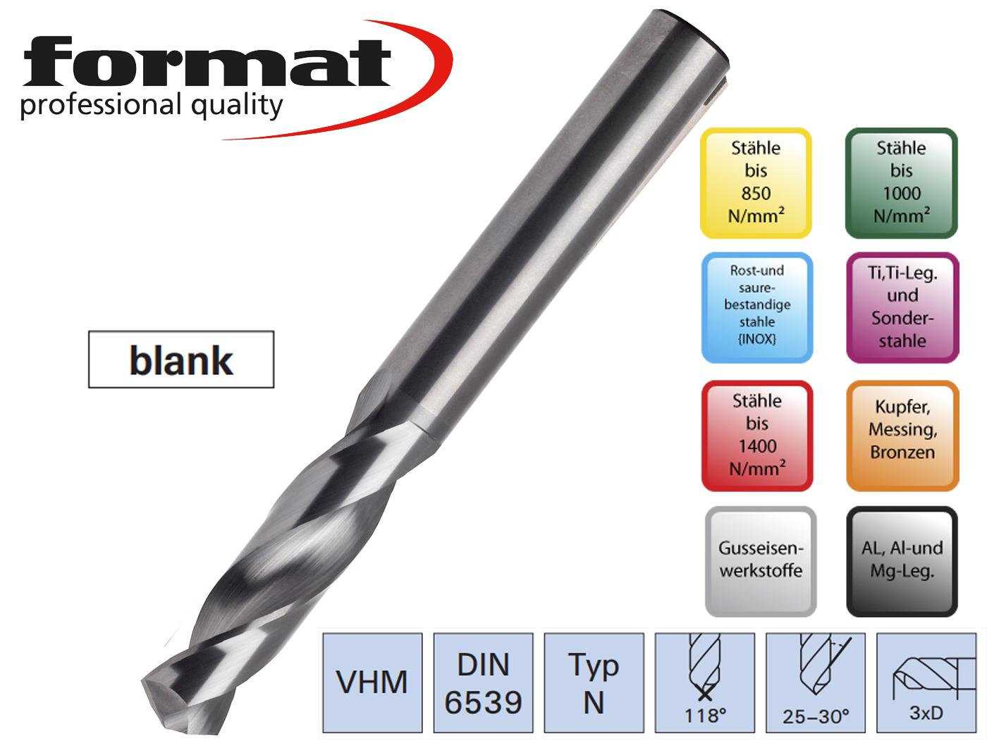 Spiraalboor VHM DIN 6539 N VHM blank | DKMTools - DKM Tools