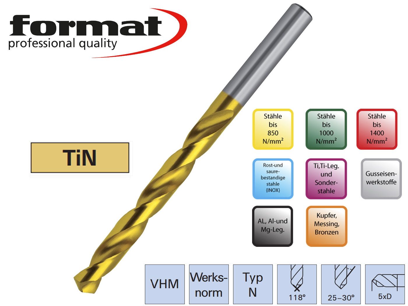 Spiraalboor VHM DIN 338 N VHM TiN   DKMTools - DKM Tools