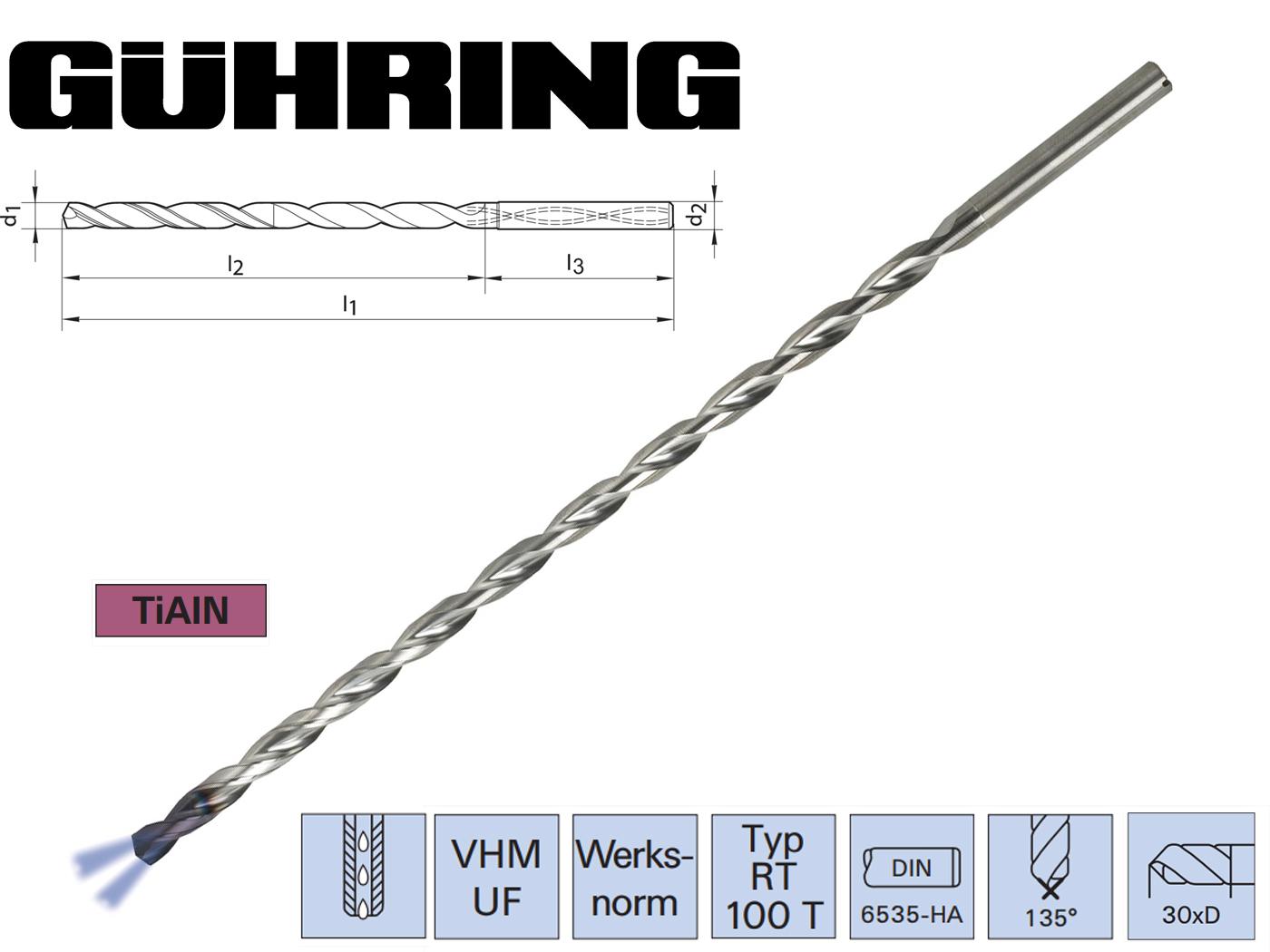 VHM DIEPGATBOOR WN HA 30xD TiAlN Guhring | DKMTools - DKM Tools