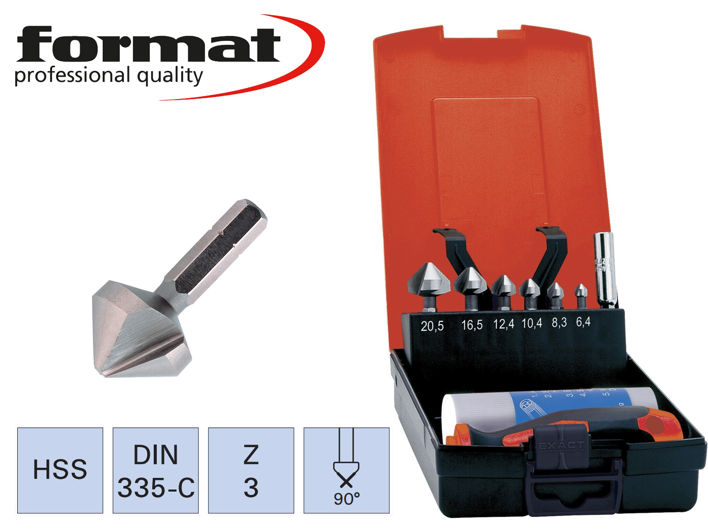 verzinkboren Bit set HSS DIN 335 C 90G FORMAT   DKMTools - DKM Tools
