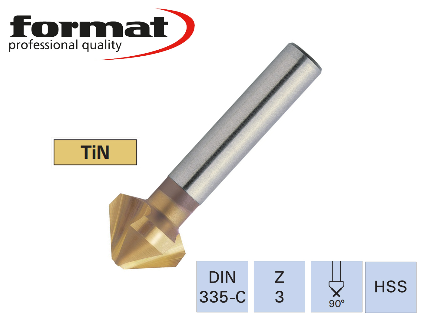Verzinkboor DIN 335 C 90G TiN | DKMTools - DKM Tools