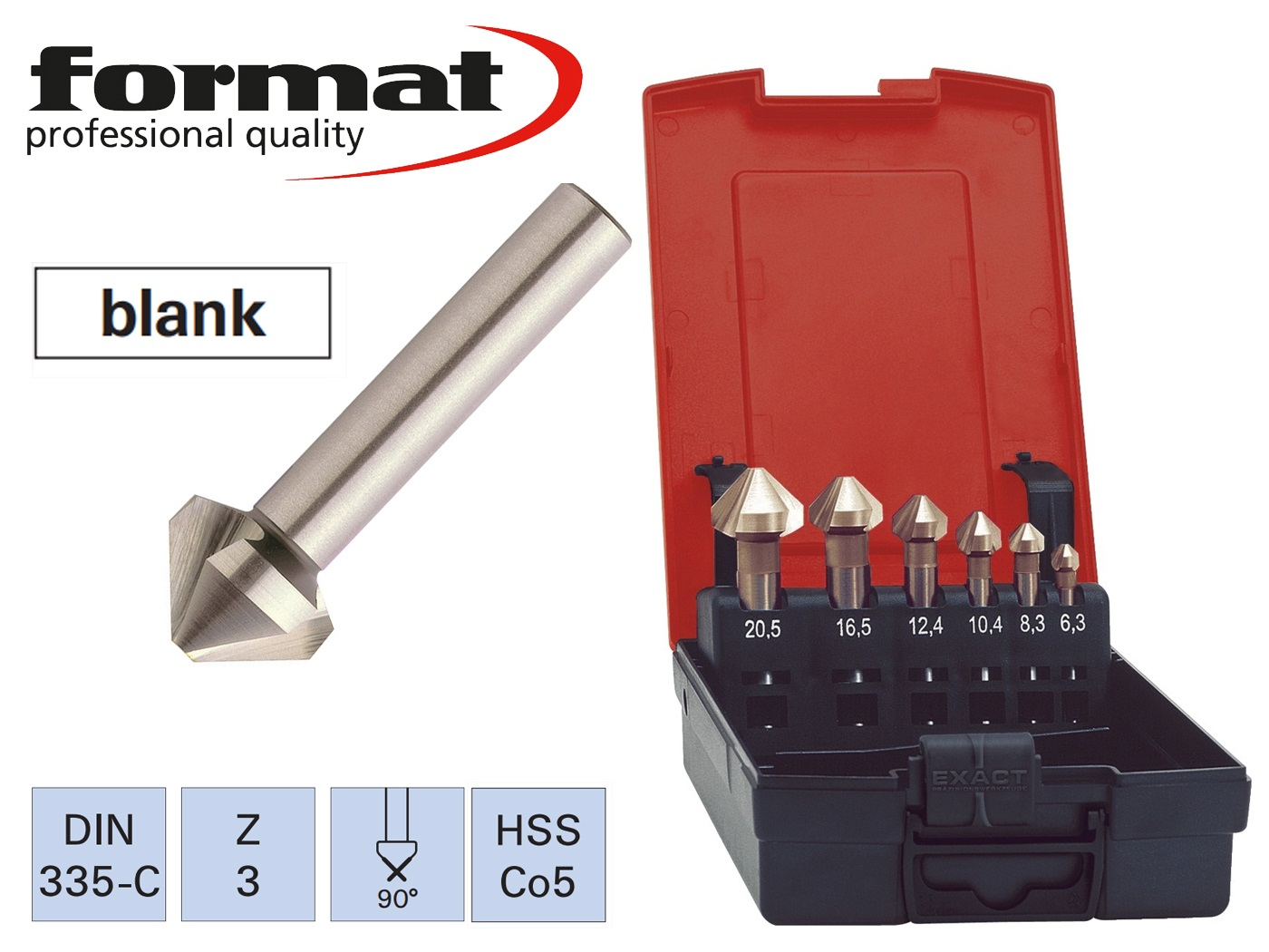 verzinkborenset DIN 335 C HSS TiN 90 G FORMAT   DKMTools - DKM Tools