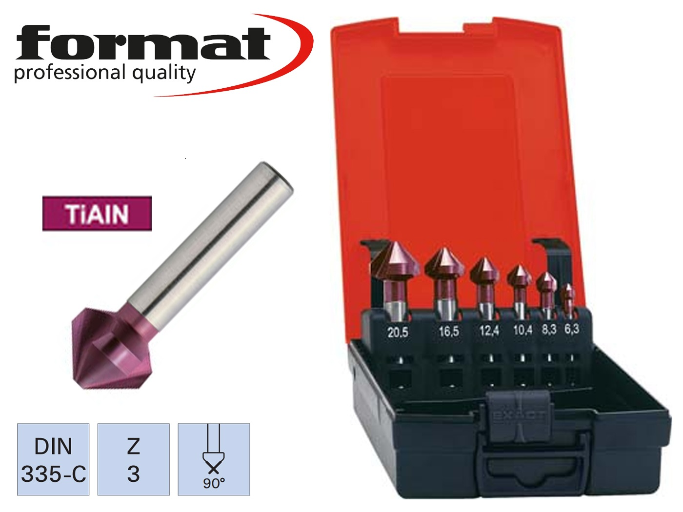 verzinkborenset DIN 335 C HSS TiAIN 90 G FORMAT   DKMTools - DKM Tools