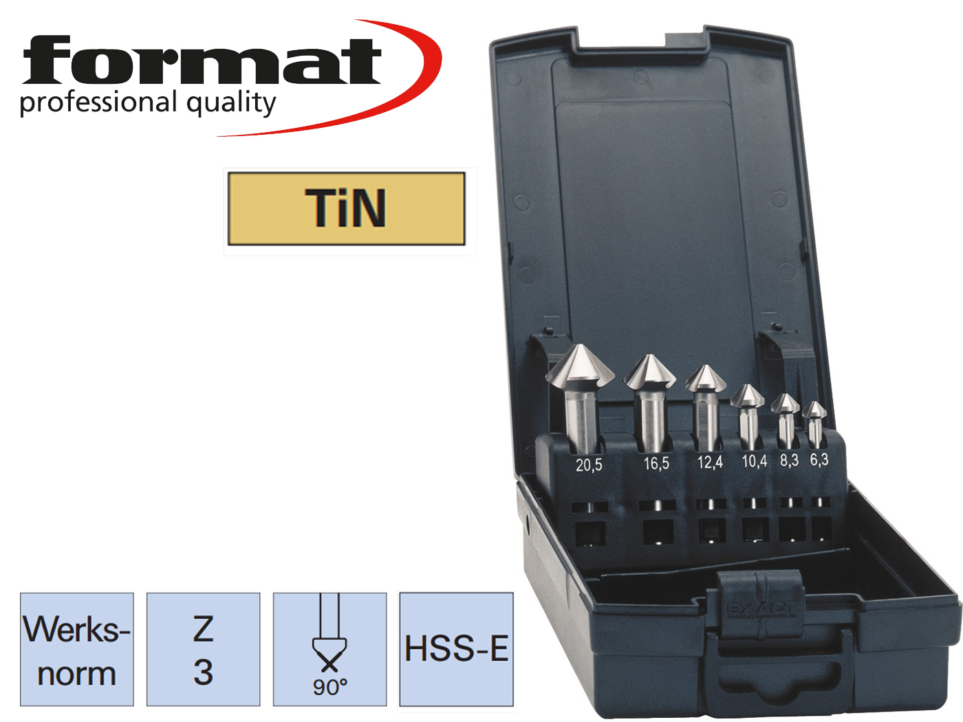 verzinkboor set DIN 335C HSS E TiN ADVANCED exact | DKMTools - DKM Tools