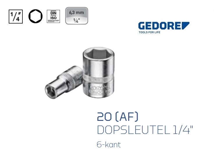 Dopsleutels 6.3mm 6 kant inch maat Gedore | DKMTools - DKM Tools