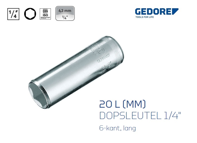 Gedore 20 L Dopsleutels 6.3mm 6 kant | DKMTools - DKM Tools