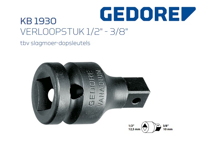 Gedore KB 1930 Verloopstuk 12.5 mm | DKMTools - DKM Tools