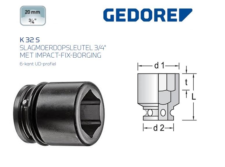 Gedore K 32 S Slagmoerdopsleutel 19.0mm | DKMTools - DKM Tools