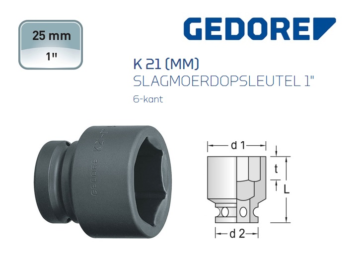 Gedore K 21 Slagmoerdopsleutel 6-kant | DKMTools - DKM Tools