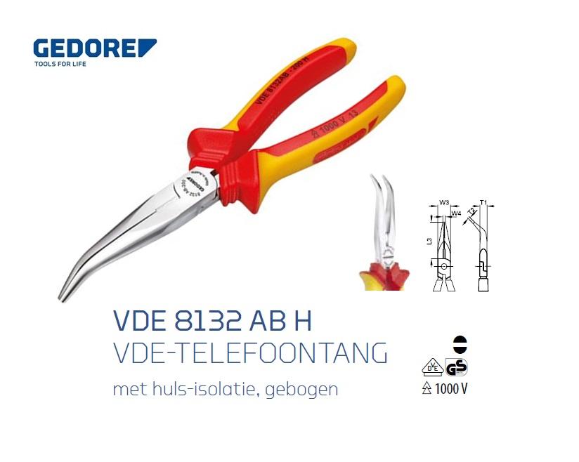 Gedore VDE 8132 AB H Telefoontang Gebogen | DKMTools - DKM Tools