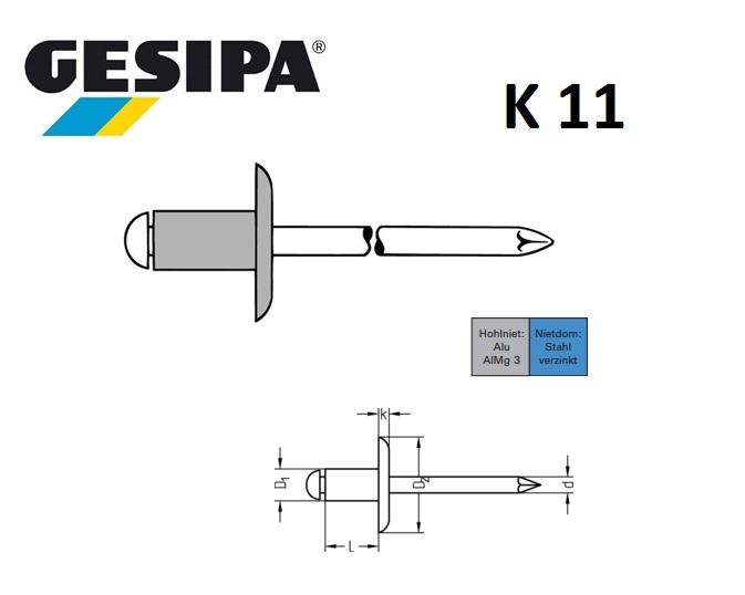 Blindklinknagels alu-staal K11 grote kop | DKMTools - DKM Tools