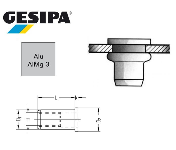 Gesipa blindklinkmoer Vlakrondkop aluminium | DKMTools - DKM Tools