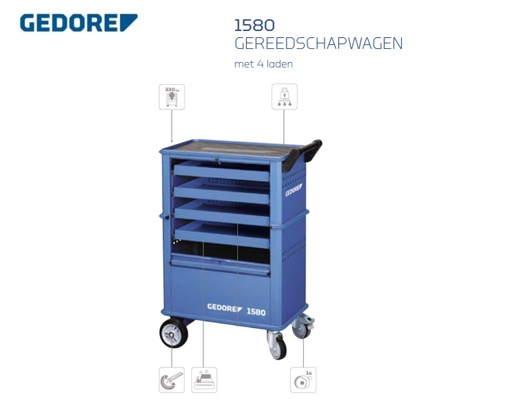 Gedore 1580.Gereedschapswagen   DKMTools - DKM Tools
