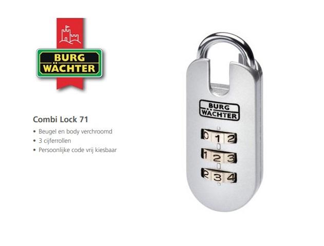 Cijferhangslot Combi Lock 71 25 SB | DKMTools - DKM Tools