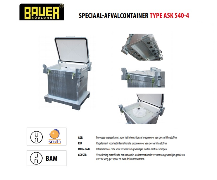 Speciaal-afvalcontainer ASK 540-4 | DKMTools - DKM Tools